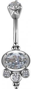 Navelsmycke i stål med vita kristaller