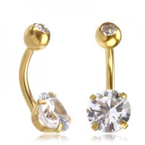 Navelsmycke - Guld PVD - Vit kristall