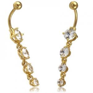 Navelsmycke - Guld PVD - Vita kristaller