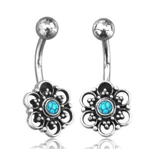 Navelsmycke - silver - blomma med turkos