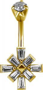 Navelsmycke - Guld PVD i kirurgiskt stål - Kristallkors