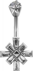 Navelsmycke i kirurgiskt stål - Kristallkors