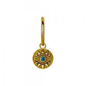 Berlock - Hängsmycke till ring - Guldplätering - öga med blå opalit