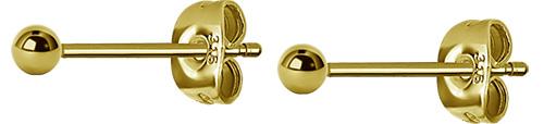Örhängen - Guldpläterad Kula - 3mm