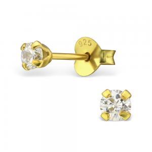 Små Kristallörhängen - 3mm - Guldpläterade
