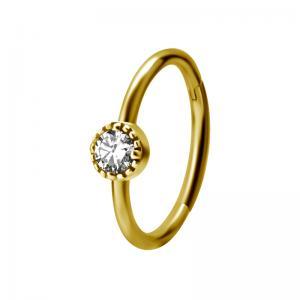 Ring till piercing - 24k-guld plätering - Clicker - vit kristall
