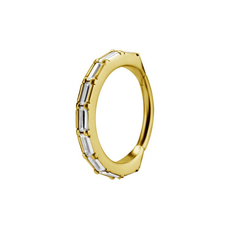 Ring till piercing - 24k-guld plätering - Clicker - Vita kristaller