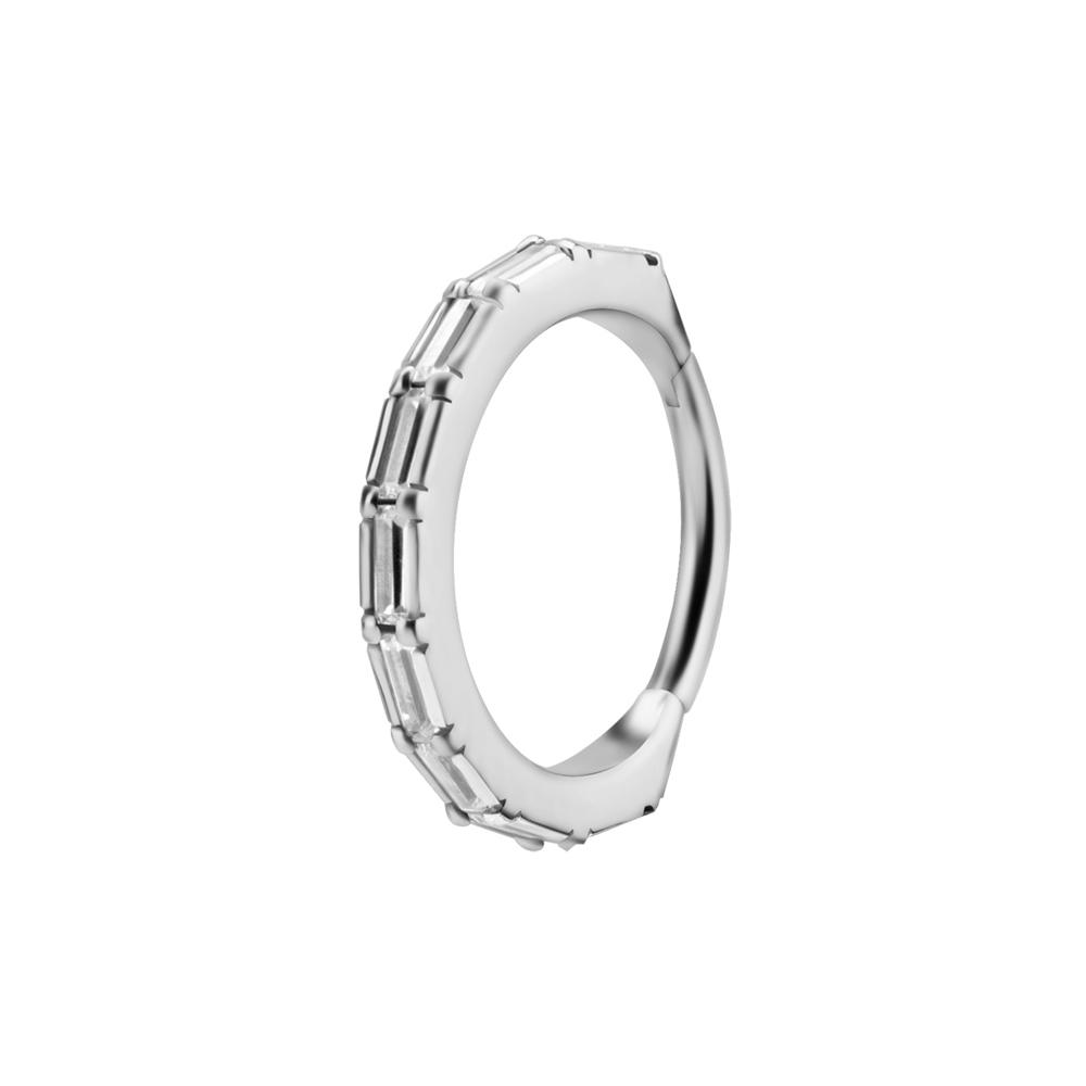 Ring till piercing - Silvrig Clicker med kristaller