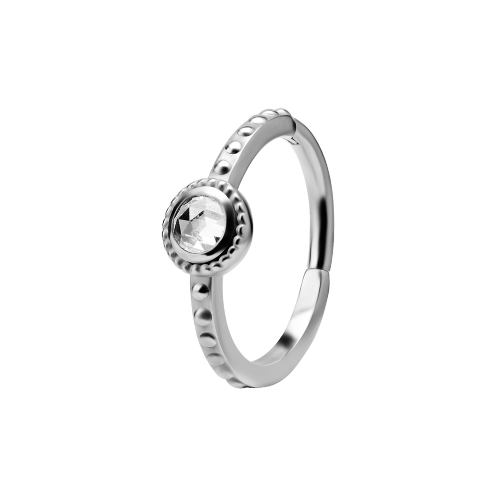 Ring till piercing - Silvrig Clicker med rund kristall