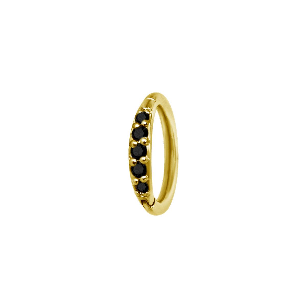 Smal guldring till piercing - Svarta kristaller