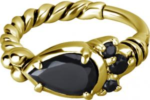 Ring till piercing - Guld med Svarta kristaller
