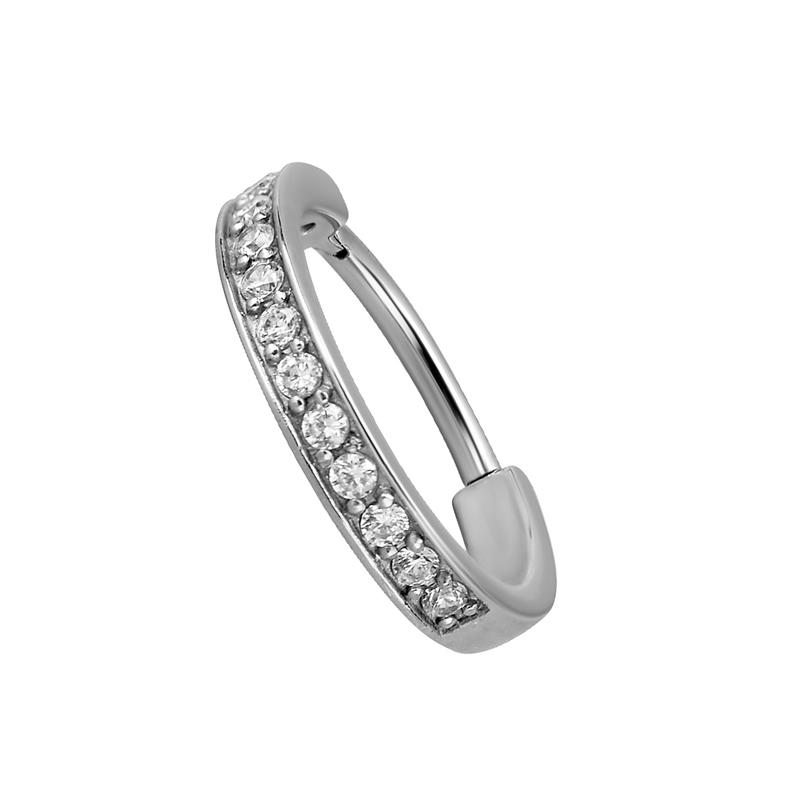 Silvrig ring till piercing - Clicker - Vita kristaller