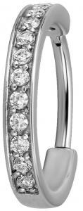 Silvrig ring till piercing - Vita kristaller