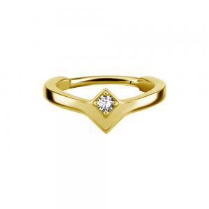 Ring till piercing - 24k-guld Pvd plätering - Clicker - vit kristall