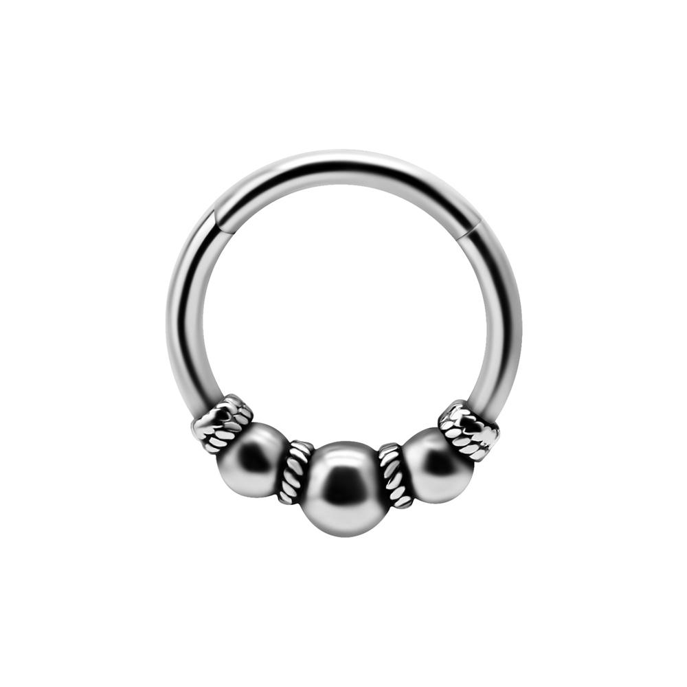 Silvrig ring - Clicker bali - Piercingsmycke