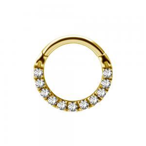Clicker Ring - Tunn guldring till piercing med kristaller