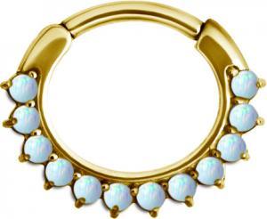 Septum Clicker - Vit opal - PVD Guld