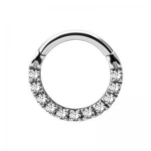 Tunn Clicker Ring - Ring till piercing med kristaller