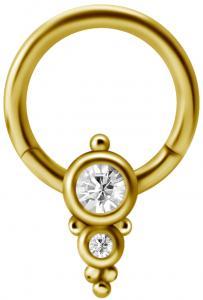 Clicker Ring - Guld pvd - Vit Kristall