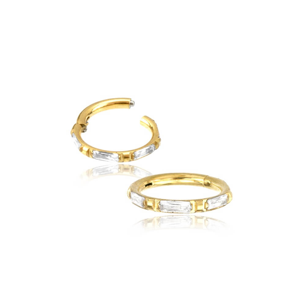 Guldig Clicker Ring till piercing - Fyrkantiga kristaller