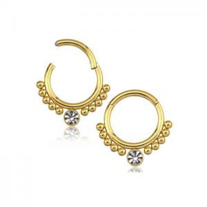 Guldring - Piercingsmycke till Septum eller Daith med vit kristall