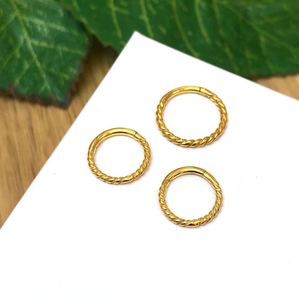 Tunn Ring - Guldigt stål - Clicker