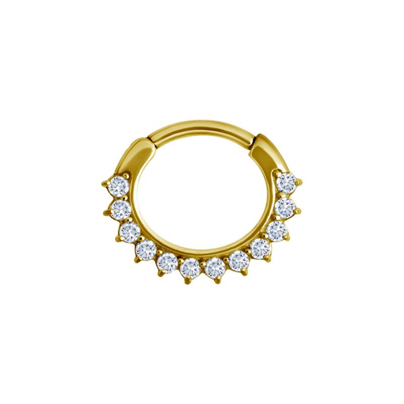 Clicker ring - Guld - Piercingsmycke i kirurgiskt stål med vita kristaller