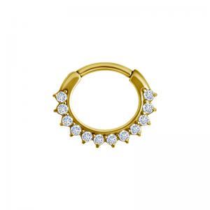 Septum Clicker - Guld - Piercingsmycke i kirurgiskt stål med vita kristaller