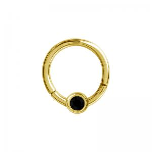 Clicker Ring - guldig Smiley / Septum / Daith - svart kristall