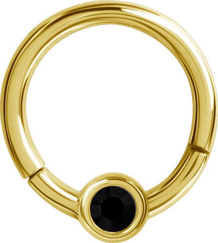 Guldig ring till smiley piercing med svart kristall