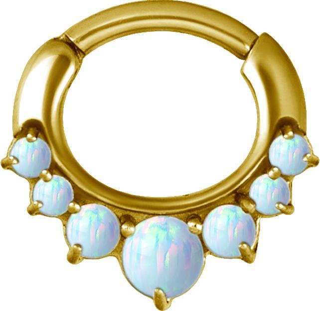Septum Clicker - Guld PVD - Vit Opal