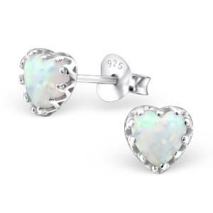 Silverörhängen - Opal Heart