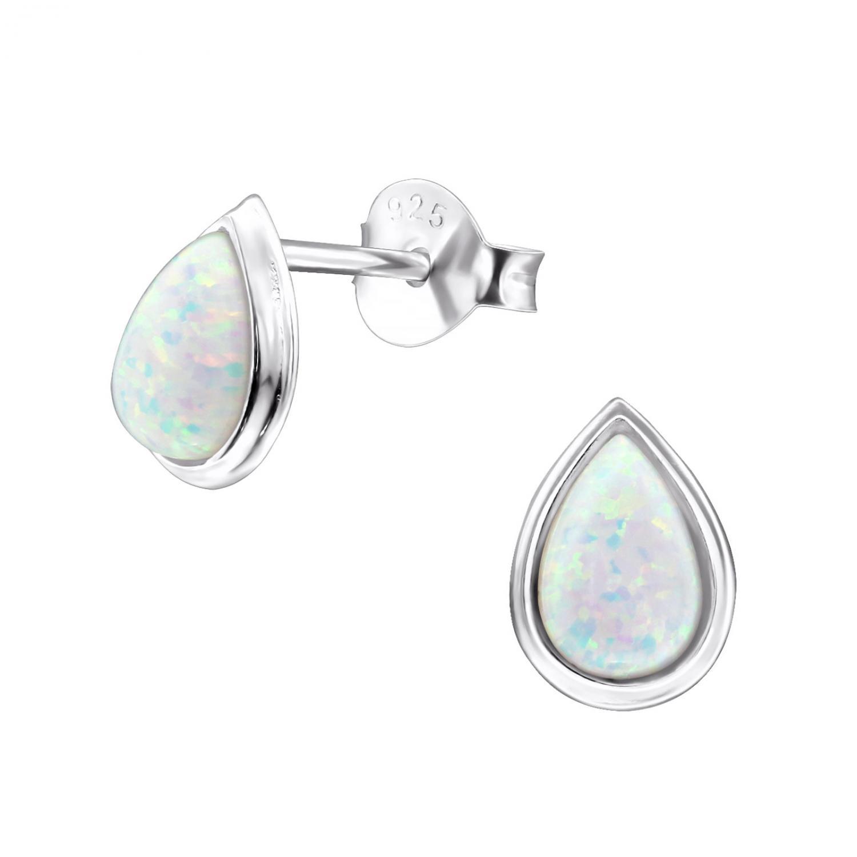 Silverörhängen - Opal Teardrop