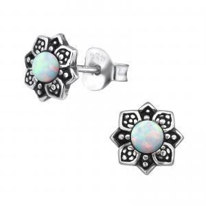 Silverörhängen - Vit Opalit Mandala