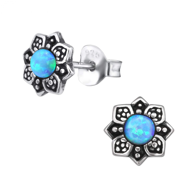 Silverörhängen - Opal Mandala