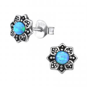 Silverörhängen - Blå Opalit Mandala