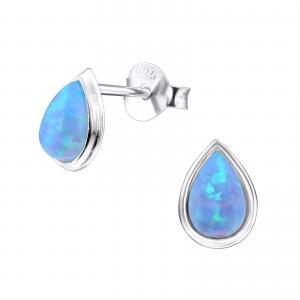 Silverörhängen - Blå Opalit Teardrop