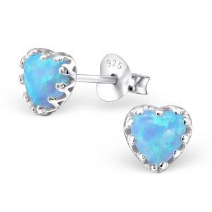 Silverörhängen - Blå Opalit Hjärta