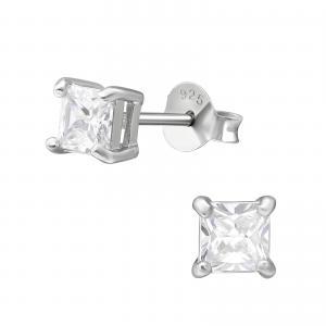 Kristallörhängen 4mm - Fyrkant