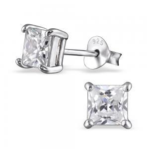 Kristallörhängen i silver 5mm - Fyrkant