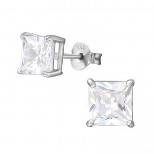 Kristallörhängen silver 6mm - Fyrkant