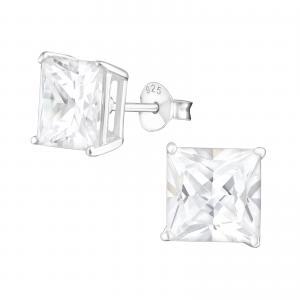 Kristallörhängen silver 8mm - Fyrkant