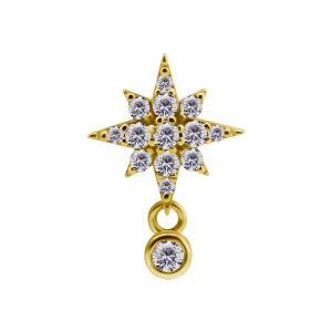 Stjärna -  18k Guld - Piercingsmycke