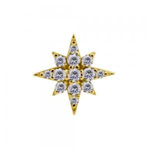Stjärna - 18k Guld - Piercingsmycke - Vita Kristaller