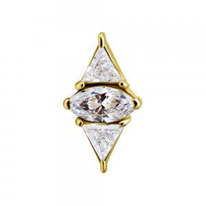 Geometrisk Topp - 18k Guld - Piercingsmycke - Vita Kristaller