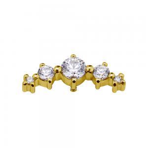 Cluster - 18k Guld - Piercingsmycke - Vita Kristaller