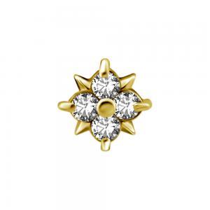 Topp - 18k Guld - Piercingsmycke - Vita kristaller