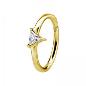 Ring till piercing - 24k-guld plätering - Clicker - Trekant