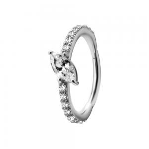 Ring till piercing - Silvrig Clicker med vita kristaller