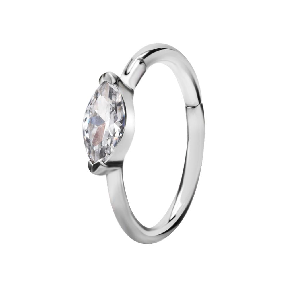 Ring till piercing - Silvrig Clicker med oval kristall